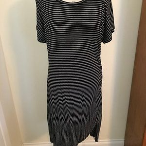 Caslon Black-and-White striped dress, short-sleeve